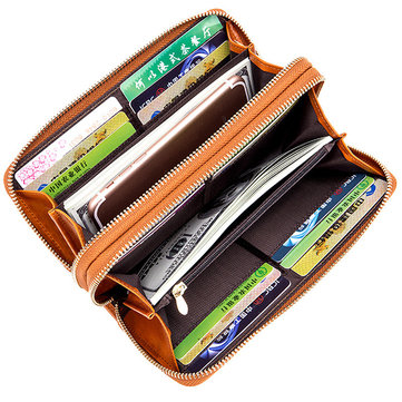 24 Card Slots Quality Genuine Leather Oil Leather Double Layer Card Slots Wallet For Men Women
