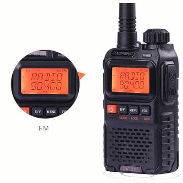 BAOFENG UV3R Plus Mini Walkie Talkie Interfone UHF VHF Dual Banda Dual Display Canais Completos de Rádio FM lanterna
