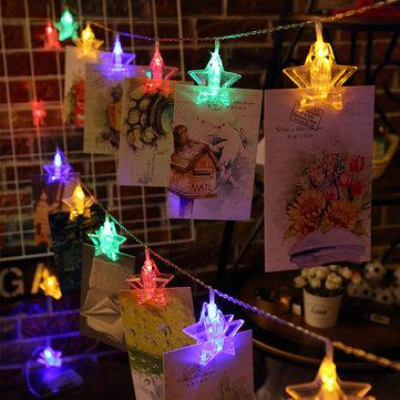 2.5M Battery Powered 20 LED Star Photo Clip Hanging Peg Fairy String Light for Wedding DIY Ins Decor