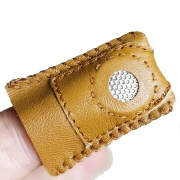 Handmade Patchwork Faux Leather Thimble Finger Sets With Metal Tip DIY Sewing Tools Hand Needlework Accessory