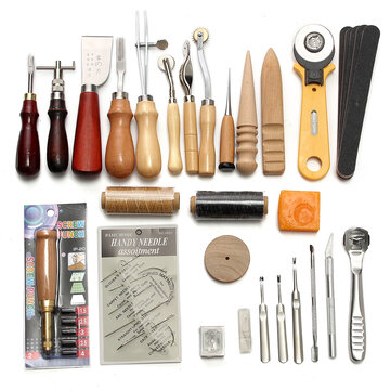 37Pcs Leather Craft Tool Kit Hand Sewing Stitching Punch Saddle Carving Work