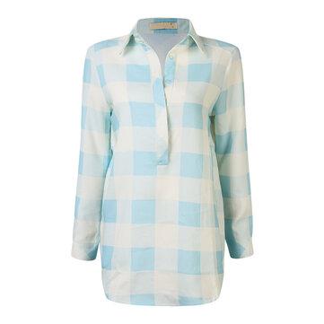आरामदायक महिला लूज लंबी आस्तीन टर्न-डोम प्लेड शर्ट ड्रेस