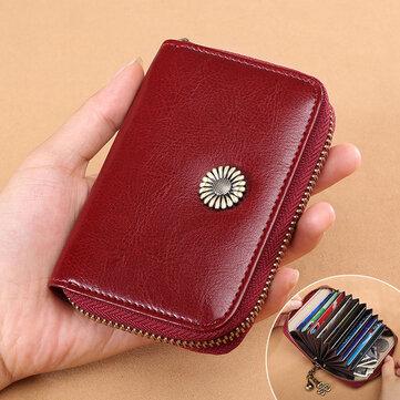Women Card Holder Purse Genuine Leather Minimalist Fashion 11 Card Slots Zipper Wallet