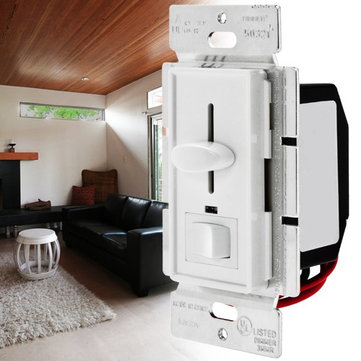 LUSTREON AC120V 600W 3 Way LED Slide Dimmer Wall Switch for Dimmable Incandescent Halogen
