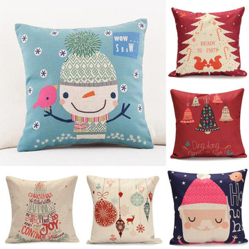 45X45cm Cotton Linen Christmas Gift Fashion Cotton Linen Pillow Case Sofa Cushion Decor