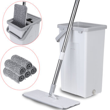 Flat Squeeze Mop Bucket Free Washing Self Cleaning Microfiber Pads Cleaner Home Cleaning Tools Set