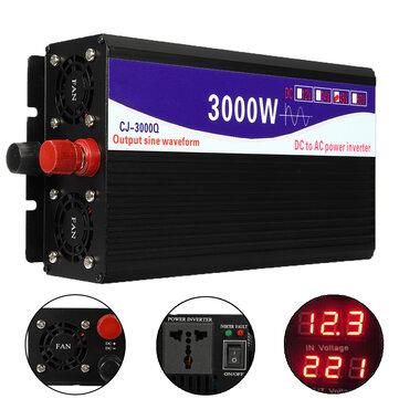 3000W 12V / 24V / 48V till 220V Pure Sine Wave Power Inverter Home Converter