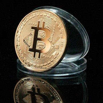 1Pcs Gold Bitcoin Model Comemorative Coins BTC Metal Coin Decorações