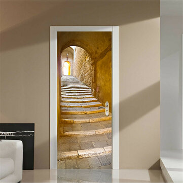 200X77CM 3D Creative Stairs Passage PVC Self Adhesive Door Wall Sticker Living Room Mural Decor
