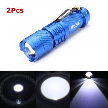 2Pcs Blue Color MECO Q5 500LM Multicolor Zoomable Mini LED Flashlight 14500/AA