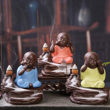 Buda Backflow Incienso Cono Quemador Titular Monje Budista Zazen Home Fragrant Backflow Censer Decor