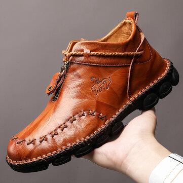 Giày nam Menico Khâu bằng da Có thể chịu được Kích thước lớn Soft Giày cao đến mắt cá chân duy nhất