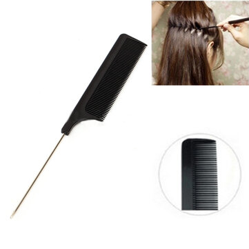 20cm 8'' Fine-tooth Metal Pin Hairdressing Hair Style Rat Tail Comb Black