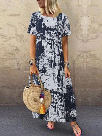 Phụ nữ tay ngắn O-cổ Retro Váy in hoa
