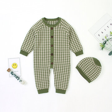 How can I buy Baby Kids Plaid Knitted Button Jumpsuit with Hat with Bitcoin