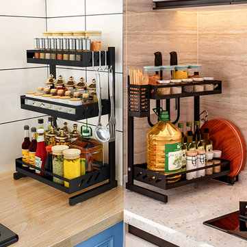 Multi Functional Storage Kitchen Rack Microwave Oven Shelving Unit Bathroom Storage Shelf Kitchen Storage Container Sale Banggood Com