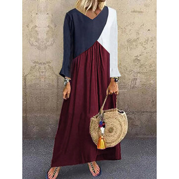 Women Casual V Neck Splicing Color Loose Long Sleeve Maxi Dress
