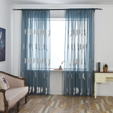 3/2/1.5/1M Embroidered Sheer Curtains for Living Room Feather Modern Design  Bedroom Elegant Yarn Curtains Voile