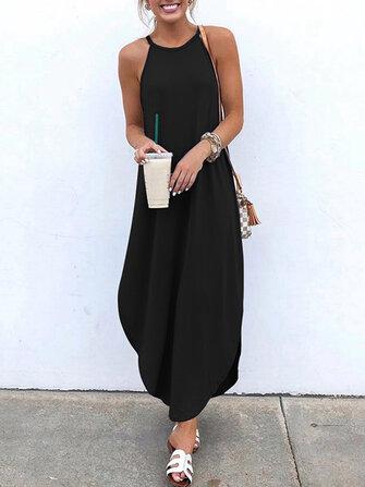 Women Sleeveless Straps High Low Hem Solid Causal Maxi Dress