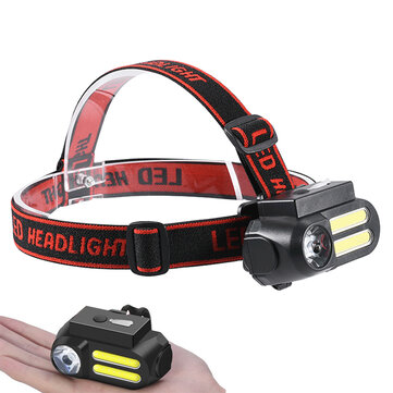 XANES® NF-611 LED + 2COB 650LM 4 Modes Headlamp 90°Rotatable Multifunctional USB Rechargeable Headlamp Waterproof Outdoor Camping Hiking Cycling Fishing Headlights 18650