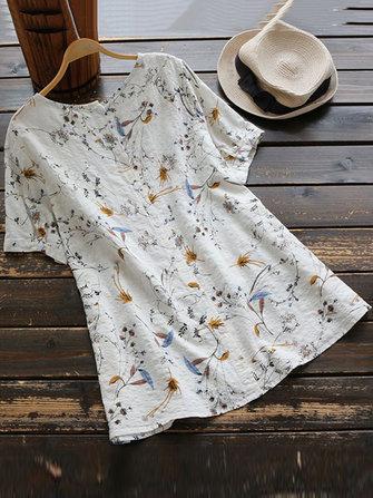 Women Floral Print Round Neck Short Sleeve T-Shirts