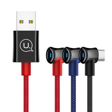USAMS 2A Type-C LED Indicator Fast Charging Data Cable For Huawei P30 Xiaomi Mi9 S10+ Note10