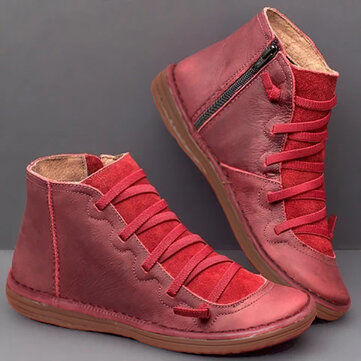 Women Comfortable Soft Sole Slip Resistant Flat Casual Zipper Ankle Boots