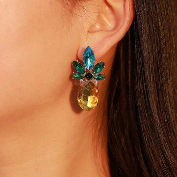 Elegant Crystal Pineapple Earring Blue Rhinestone Ear Stub For Women