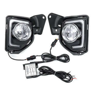 Buy Pair LED DRL Daytime Running Lights White Fog Lamps Yellow with H16 Halogen Bulbs For Toyota Hiace 2014-2018 with Litecoins with Free Shipping on Gipsybee.com