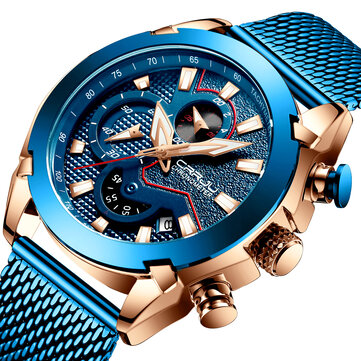 CRRJU 2219 Men Chronograph Luminous Display Full Steel Strap Fashion Blue Dial Quartz Watch
