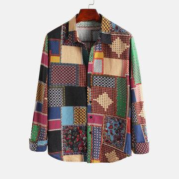 Män 100% bomull lapptäcke Etnisk stil avslappnade långärmade tröjor