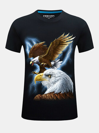 Plus Size S-4XL Fashion 3D Eagle Printed O-neck T-shirt Men's Casual Short Sleeve Tops Tees