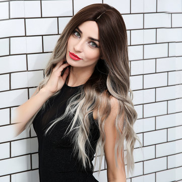 Buy  Loose Wave Lace Front Wigs 24 Inch Long Ombre Silver Dark Roots Grey Synthetic Cosplay Wigs with 3 on Gipsybee.com
