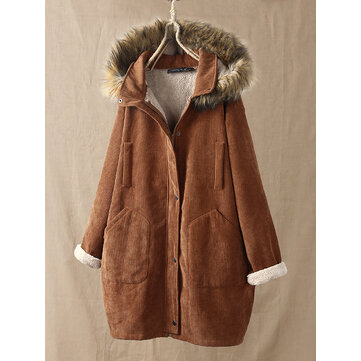 Corduroy Solid Color Plush Hooded Long Sleeve Coats with Pockets