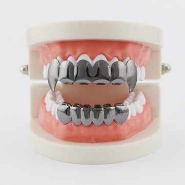 4 Colors Vintage Halloween Vampire Denture Kit Metal Geometric Glossy Braces Grillz Teeth Jewelry for sale in Litecoin with Fast and Free Shipping on Gipsybee.com