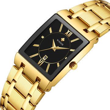 WWOOR 8858 Vattentät Full Steel Business Style Men Watch Date Display Quartz Watch