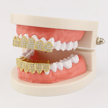 Gold-plated Diamond Braces Geometric Rhinestone Metal Denture Grillz Teeth Jewelry