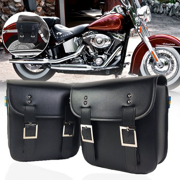 Motorcycle Tool PU Leather Side Saddle Bags Saddlebags Storage Pouch For Harley