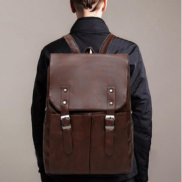 Men Large Capacity Solid Casual Multifunction Laptop Flap Backpack