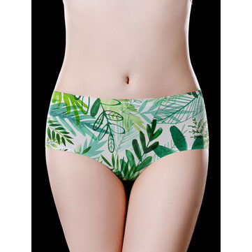 Seamless Plant Pattern Print Ice Silk Low Waisted Briefs