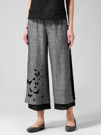 Butterflies Print Layered Pants