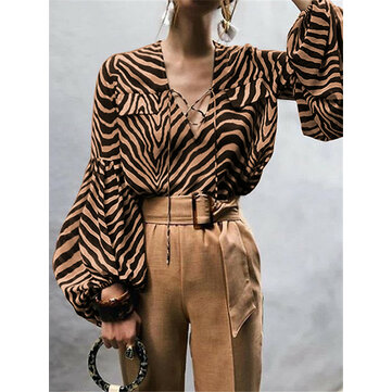 Women Striped Printed Long Sleeve Shirt Casual Loose Blouse