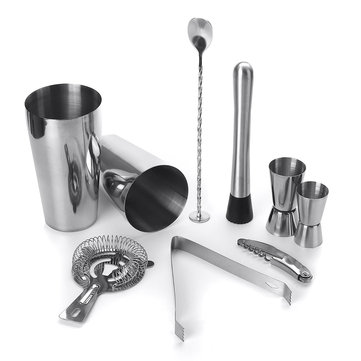 Buy 9 Piece Set Stainless Steel Cocktail Jigger Mixer Bar Drink Shaker Bartender Set Restaurant Supplies with Litecoins with Free Shipping on Gipsybee.com
