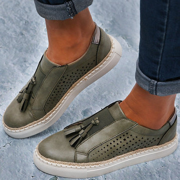 Large Size Women Hand Weave Comfortable Hollow Out Fringe Loafers