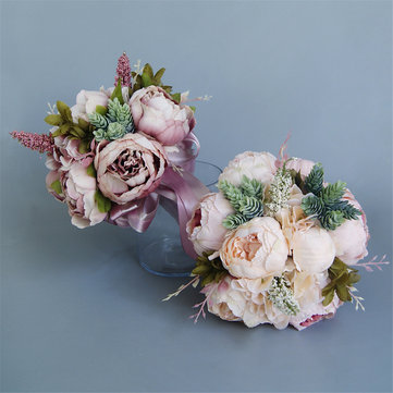 Buy Wedding Bridal Bouquets Handmade Artificial Flowers Decorations Bride Accessories with Litecoins with Free Shipping on Gipsybee.com