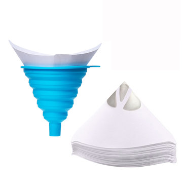 100 Pcs Disposable Paint Paper Strainers with 1Pcs Silicone Filter Water Filter