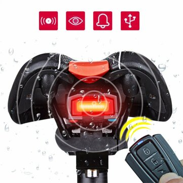 ANTUSI 3 in 1 Bicycle Wireless Rear Light Cycling Remote Control Alarm Lock Mountain Bike Lights