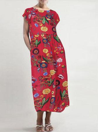 Kadın Kısa Kollu O-Yaka Çiçek Baskı Orta-Uzun Elbise Cepli