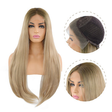 24 Inches Front Lace Wig Light Brown Blonde Ombre Straight Hair Chemical FiberHair & AccessoriesfromHealth & Beautyon banggood.com