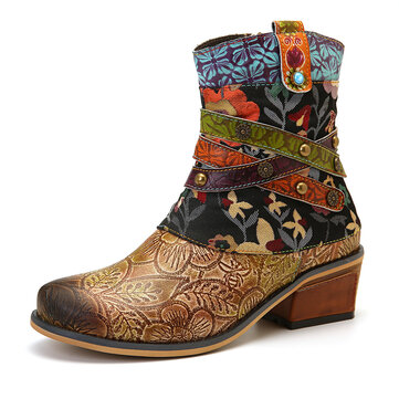 SOCOFY Women Retro Printed Pattern Genuine Leather Comfy Ankle Boots
